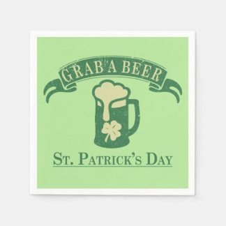 Happy St Patrick's Day Grab A Beer Paper Napkin