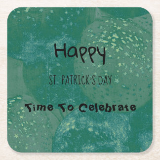 Happy St. Patrick's Day Green Balloons Square Paper Coaster