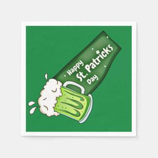 Happy St Patricks Day Green Beer Banner Paper Napkin