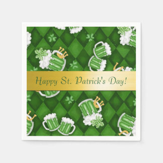 Happy St. Patrick's Day Green Beer Napkins Disposable Napkins