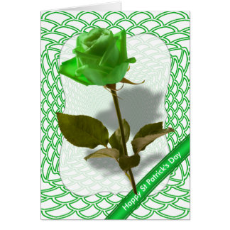 """Happy St Patrick's Day Green Rose Photo Greeting Cards"