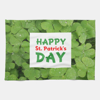 Happy St.Patrick's day green shamrock towel