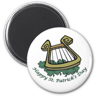 Happy St. Patrick's Day Harp 2 Inch Round Magnet