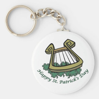 Happy St. Patrick's Day Harp Basic Round Button Keychain