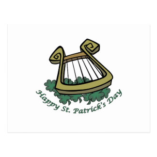 Happy St. Patrick's Day Harp Postcard