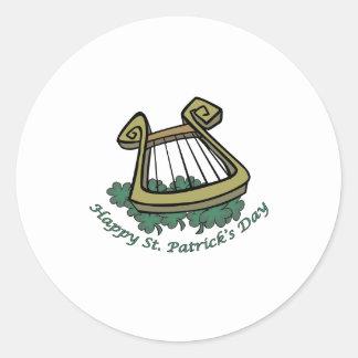 Happy St. Patrick's Day Harp Round Sticker