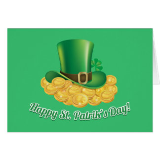 Happy St. Patrick's Day hat and gold Note Card