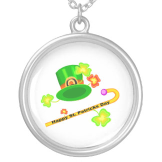 Happy St. Patrick's Day Hat & Cane Collage Round Pendant Necklace