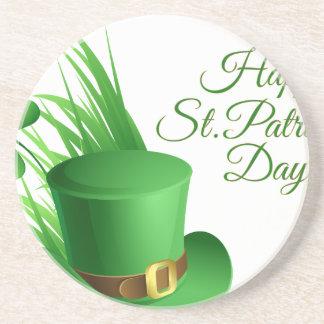 Happy St Patrick's day, holiday Irish hat saint Beverage Coaster