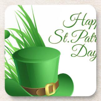 Happy St Patrick's day, holiday Irish hat saint Beverage Coasters