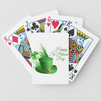 Happy St Patrick's day, holiday Irish hat saint Bicycle Playing Cards