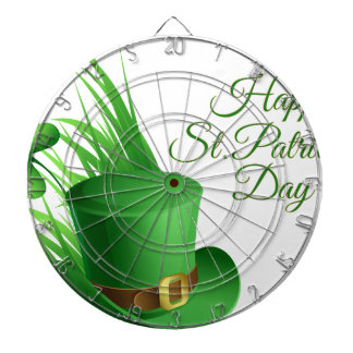 Happy St Patrick's day, holiday Irish hat saint Dartboard