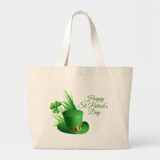Happy St Patrick's day, holiday Irish hat saint Large Tote Bag