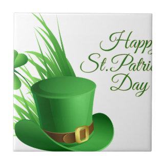 Happy St Patrick's day, holiday Irish hat saint Tile