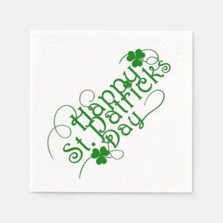 Happy St Patricks Day in Swirly Script Napkin