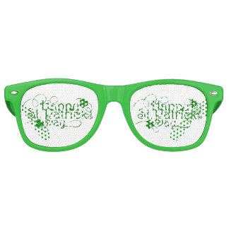 Happy St Patricks Day in Swirly Script Retro Sunglasses