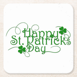 Happy St Patricks Day in Swirly Script Square Paper Coaster