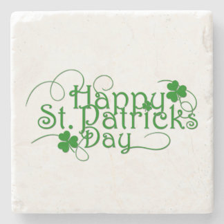 Happy St Patricks Day in Swirly Script Stone Coaster