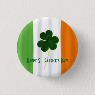Happy St. Patrick's Day Irish Flag Shamrock Paddy 1 Inch Round Button