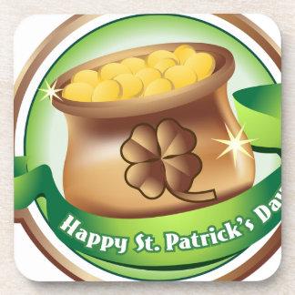 Happy St Patrick's day, Irish Saint Hat Holiday Drink Coaster