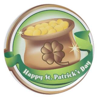 Happy St Patrick's day, Irish Saint Hat Holiday Plate
