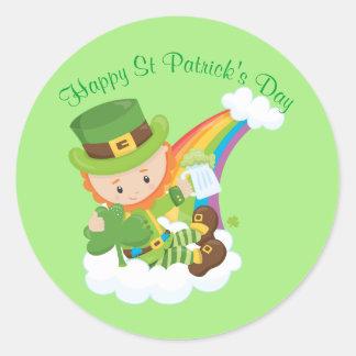 Happy St Patrick's Day Leprechaun Classic Round Sticker