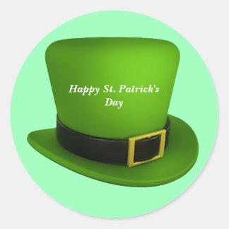 Happy St.Patrick's Day Leprechaun Hat Classic Round Sticker