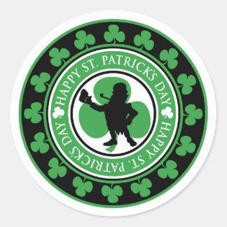 Happy St. Patrick's Day Leprechaun Shamrocks Classic Round Sticker