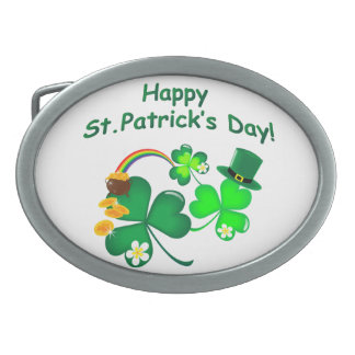Happy St. Patrick's Day Oval Belt Buckle