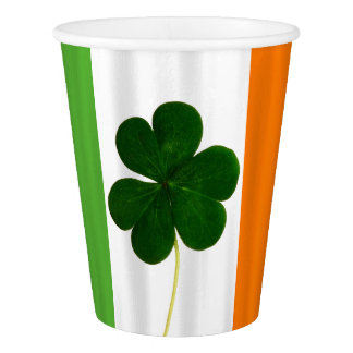 Happy St. Patrick's Day Paddy Shamrock Irish Flag Paper Cup