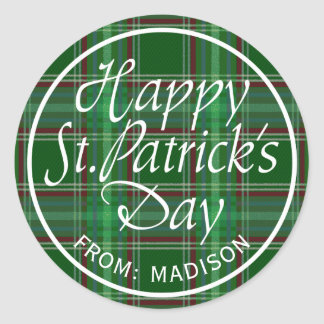 Happy St. Patrick's Day Plaid Round Sticker