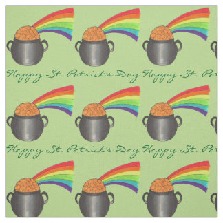 Happy St. Patrick's Day Rainbow Pot of Gold Fabric