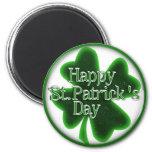 Happy St. Patricks Day Shamrock 2 Inch Round Magnet
