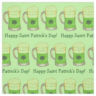 Happy St. Patrick's Day Shamrock Beer Mug Fabric
