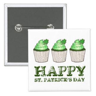 Happy St. Patrick's Day Shamrock Cupcake Button