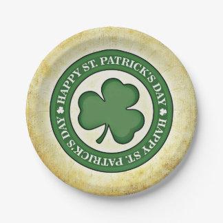 Happy St. Patrick's Day Shamrock Green Border Paper Plate