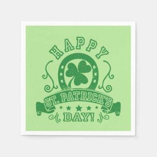 Happy St Patrick's Day Shamrock Napkin