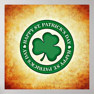 Happy St. Patrick's Day Shamrock Square Poster