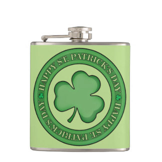 Happy St Patricks Day Shield Hip Flask