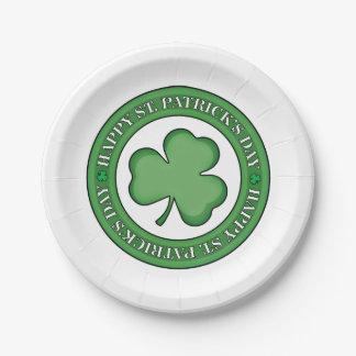Happy St Patricks Day Shield Paper Plate