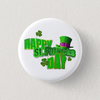 Happy St. Patrick's Day Text 1 Inch Round Button