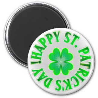 Happy St. Patrick's Day! Vintage Shamrock 2 Inch Round Magnet
