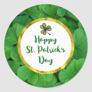 Happy St. Patrick's Day with Green Clovers Round Sticker