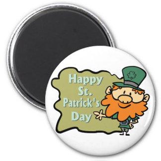 Happy St. Patrick's Leprechaun 2 Inch Round Magnet