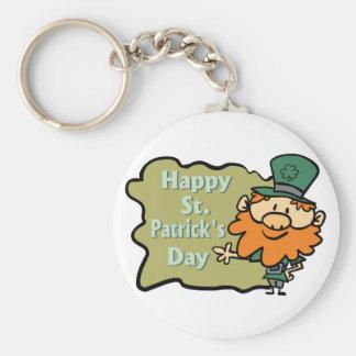 Happy St. Patrick's Leprechaun Basic Round Button Keychain