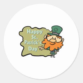 Happy St. Patrick's Leprechaun Round Sticker