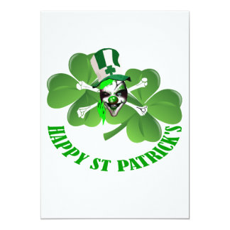 """Happy St Patrick's scary clown 5"""" X 7"""" Invitation Card"""