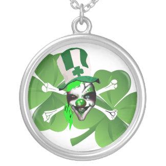 Happy St Patrick's scary clown Round Pendant Necklace