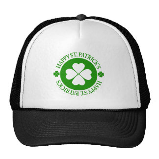 Happy St Patrick's White And Green Shamrock Trucker Hat