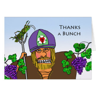 Happy St. Urho's Day, Grasshopper and Grapes Card